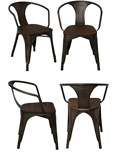 BTEXPERT Industrial Metal Antique Copper Bronze Indoor Outdoor Rustic Distressed Dining Bistro Cafe Stackable Arm Chair wood top Set of 4 (French Style Outdoor Dining Furniture)