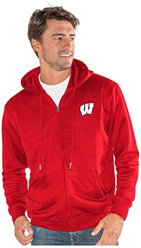 NCAA Wisconsin Badgers Men's Cadence Full Zip Sweatshirt, Red, Large (Wisconsin Badgers Mens Basketball)