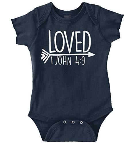 Brisco Brands Loved Bible Verse Christian New Baby Gift Romper Bodysuit Navy