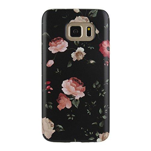Anti Shock Case - Galaxy S7 Floral Case, GOLINK Slim-Fit Anti-Scratch Shock Proof Anti-Finger Print TPU Gel Case (Rose)