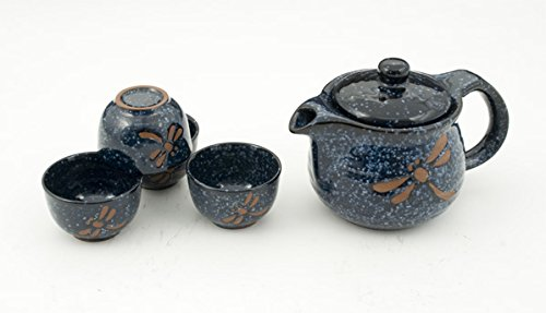 Happy Sales HSTS-BDFC12,   5 PC Tea Set Blue Dragonfly Round by Happy Sales