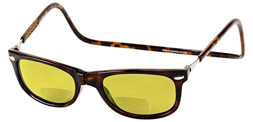 Clic Eyewear Readers Tortoise 2.00 (Clic Ashbury Polarized Bi-Focal Reading Sunglasses in Tortoise with Yellow Lens +2.00)