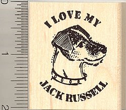 I Love My Jack Russell Terrier Rubber Stamp - Wood Mounted