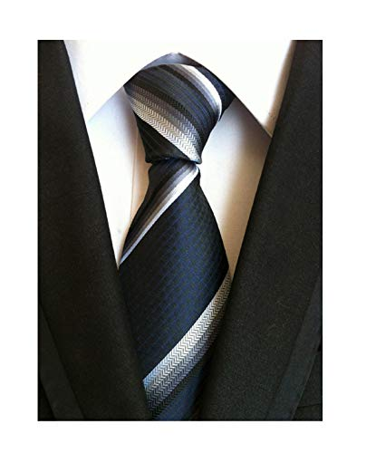 Men Navy Blue White Stripe Silk Tie Necktie Creative Design Nice Gift for Father