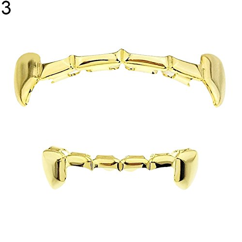 Softmusic Cosplay Teeth Caps,Hip Hop Grillz Dental Tooth Grills Halloween Party Jewelry 3#]()