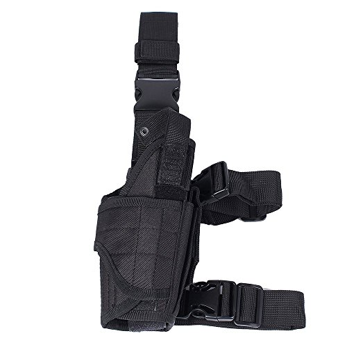 Tactical Drop Leg Gun Holster Adjustable Right Handed Thigh Pistol Pouch