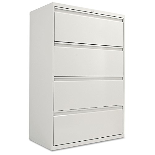 Four-Drawer Lateral File Cabinet, 36w x 19-1/4d x 54h, Light Gray (Light Cabinets File Gray)