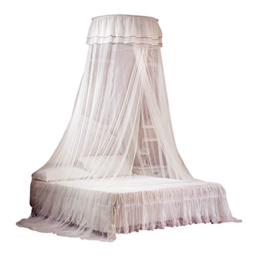 etforu Princess Bed Canopies Netting Elegant Lace with 2 Butterflies for decor - White ()