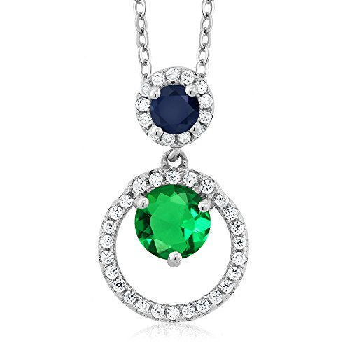 1.73 Ct Round Green Simulated Emerald Blue Sapphire 925 Sterling Silver Pendant