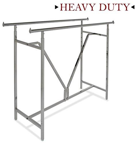 (Econoco - Adjustable Heavy Duty Double Bar, Retail Clothing Rack, Rectangular Hangrail Rack w/V-Brace)