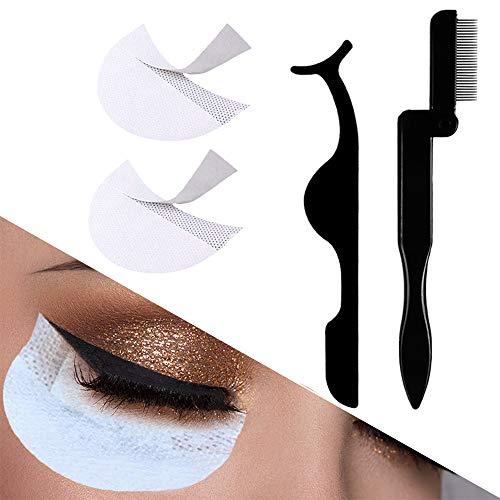 Eyelash Comb Metal Teeth and Folding, False Eyelash Applicator Tool Extension and Pads