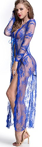 The Victory of Cupid plus size lace long coat Long Gown Jacket Nightwear,X-Large,Blue by The victory of cupid