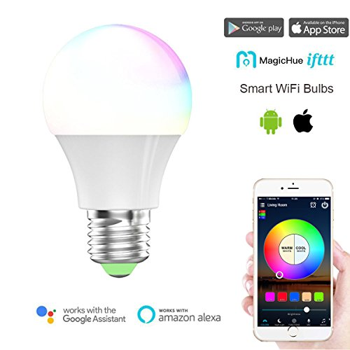 Magic Hue Wifi Smart Led Light Bulb  Multicolored Dimmable Sunrise Wake Up Wifi Smart Light  No Hub Required  Compatible With Alexa   Google Home Assistant   Ifttt