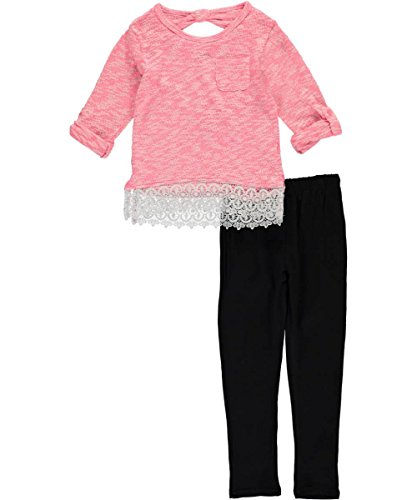 kensie-little-girls-toddler-sweater-with-lace-trim-hem-and-legging-neon-coral-4t