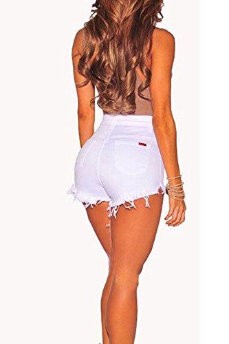 Occasionale Le White Pantaloni Jeans Pulsanti Dei Corto Denim Tagliato Hot Donne Magre Club aIw6q4UBxw