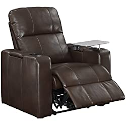 Pulaski Power Home Theatre Recliner, USB Port, Tray, Blanche Chocolate