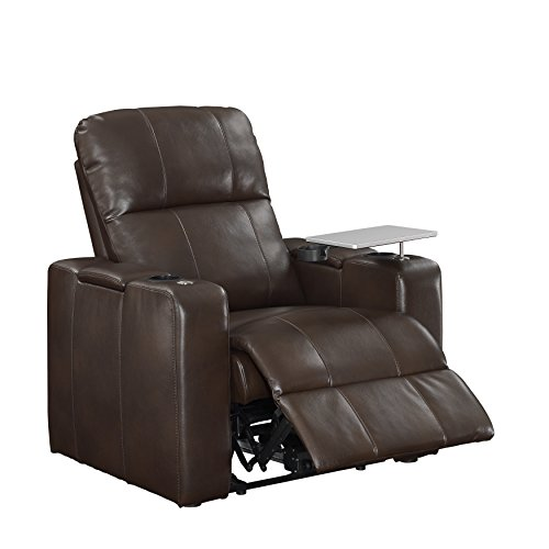 Pulaski Power Home Theatre Recliner, USB Port, Tray, Blanche (Leather Stash Tray)