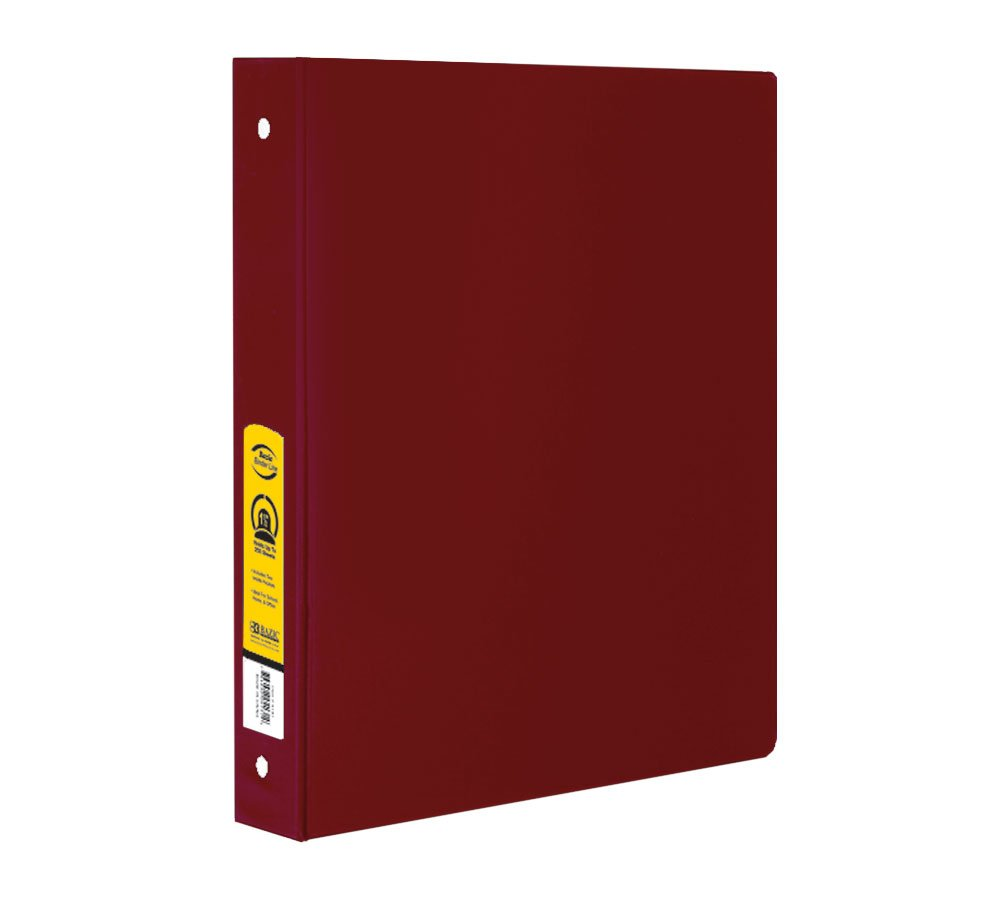 BAZIC 1'' Burgundy 3-Ring Binder w/ 2-Pockets