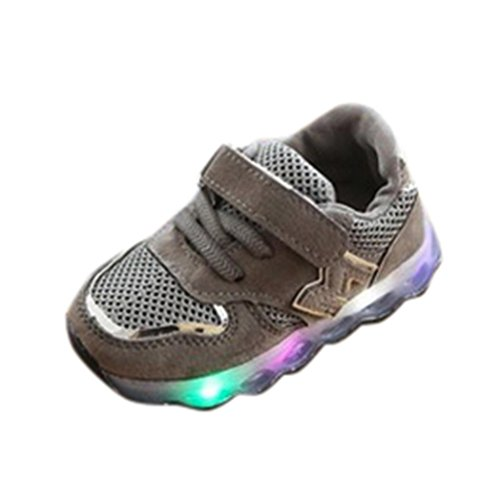 Omiky® Kinder Baby Mesh Feste Schuhe LED Leuchten Leuchtende Turnschuhe Grau