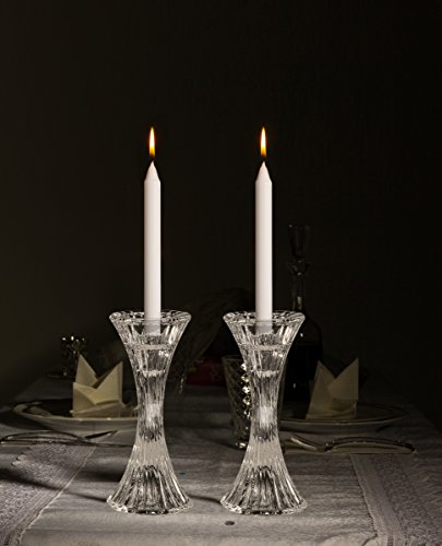 Round Base Crystal Candlesticks - 2 Pack Set - Pair of 5 Inch Pinched Fluted Cylinder Design Candle Holders - by Ner Mitzvah by Ner Mitzvah (Image #3)
