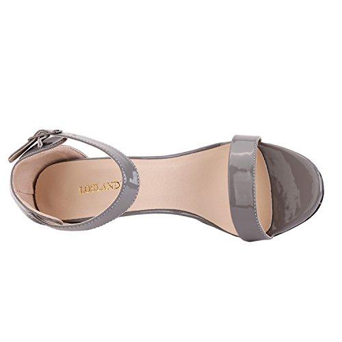 Dress Sandals Neon Toe 3 LOSLANDIFEN Open 102 Women's Ankle Grey Straps wCPRaOUxq