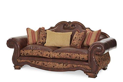 - Michael Amini 34915-BRICK-26 Tuscano Leather/Fabric High Back Sofa, Biscotti