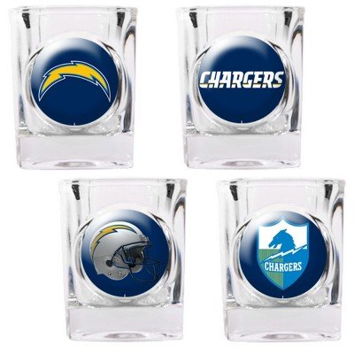 San Diego Chargers - 4 Piece Square Shot Glass Set w/Individual Logos (Nba 4 Square Piece)
