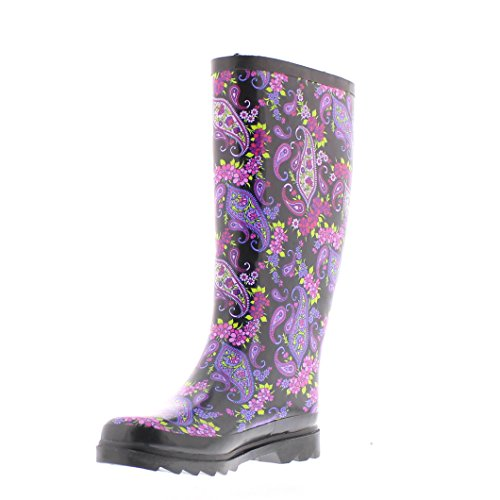 GOLDTOE Gold Toe Women's Faux Fur Lined Jelly Rainboot Valinda Paisley 10 M (Fur Lined Rain Boots)