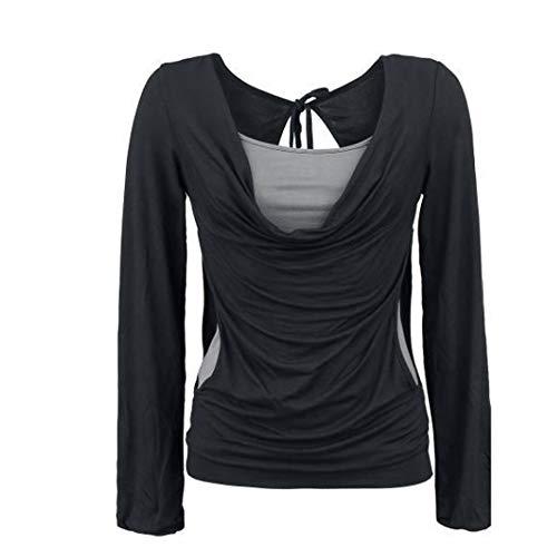 Lache Shirt t Longue T Crop Top Sexy Irrgulier Femmes Sweatshirts Chemise Deux Ensemble de Automne Top paule pices Overmal Manches Rond et Chic Mode Col Noir Dcontracte Blouse Haut Vetements Y06xq