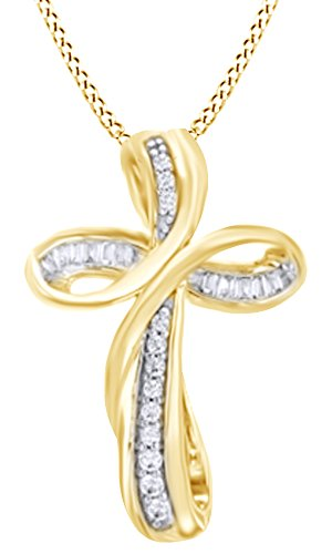 1 10 Ct Round Natural Diamond Infinity Cross Pendant Necklace In 14K Yellow Gold Over Sterling Silver