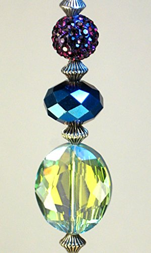 Glam Green, Blue & Purple Ceiling Fan Pull in Faceted Crystal Glass and Iridescent Faux Rhinestone