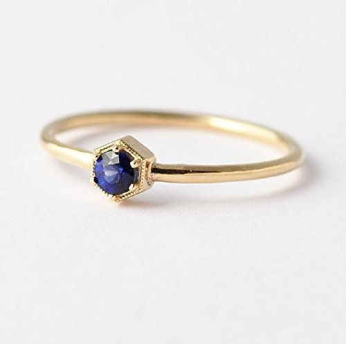14K/18K Gold Sapphire Ring: Hexagon Non Diamond Engagement Ring
