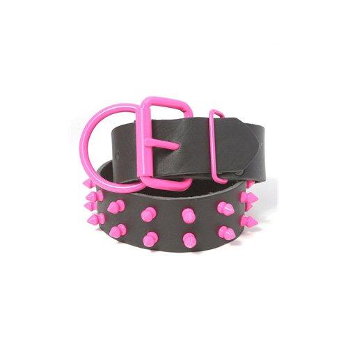 Platinum Pets Genuine LC29INPNKSPK Large Leather Dog Collar with Spikes, Bubblegum Pink, My Pet Supplies