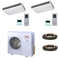 YMGI Dual Zone - 32000 (9k+24k) BTU Ceiling Suspension or Floor Mount Ductless Mini Split Air Conditioner with Heat Pump for Home, Office, Apartment