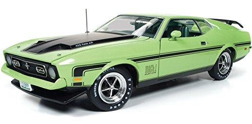 1971 Ford Mustang Mach 1 429 Ram Air Grabber Lime with Green Interior Limited Edition 1/18 by Autoworld AMM1069 (Mustang Mach 1 Ford)