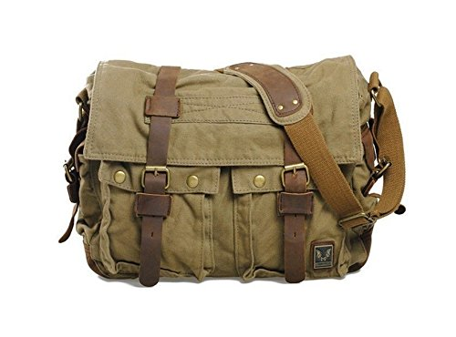 Men's Vintage Canvas Leather Messenger Shoulder Bag Military Satchel Hiking Bag (BROWN GREEN) from kwanchan