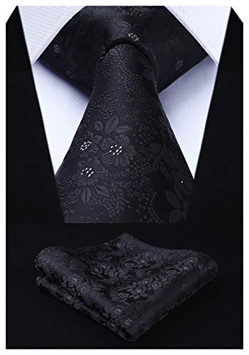 HISDERN Extra Long Floral Paisley Tie Handkerchief Men's Necktie & Pocket Square Set (Black)