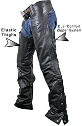 Xelement 7553 Womens Black Advanced Dual Comfort Leather Chaps - 4