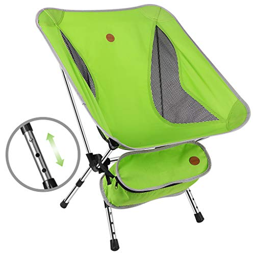 Awenia Portable Camping Chair Adjustable Height, Lightweight Folding Backpacking Chair Heavy Duty (264lbs Capacity) with Carry Bag for Outdoor Camp, Travel, Beach, Picnic, Festival, Hiking, Green