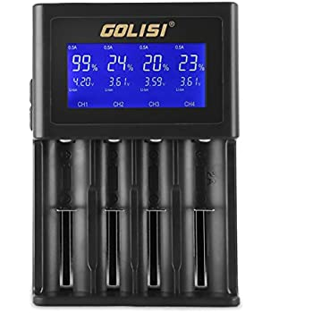 Golisi S4 2.0A Smart Charger with LCD Screen and Wall Charger Cable Intelligent BatteryCharger for 20700, 26650, 18650 Li-ion Batteries