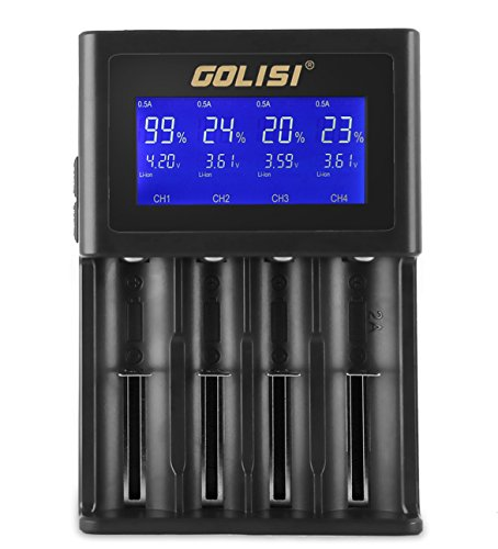 Golisi S4 2.0A Smart Charger with LCD Display and Wall Charger Cable Intelligent Battery Charger for 20700, 26650, 18650 Li-ion Batteries