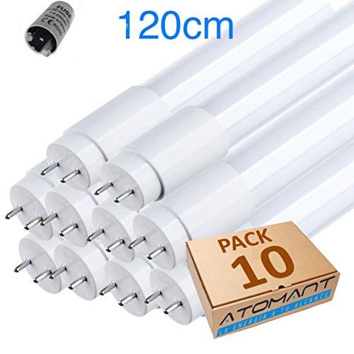 Led Atomant Tube à LED 360 degrés, 120 cm, blanc froid 6500 K, standard T8 G13-18 W, 1800 lm, lot de 10