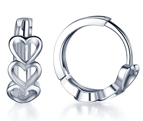 Infinite U Huggie Earrings 925 Sterling Silver Small Hoop Cartilage Hollow Heart Cluster for Women, 0.5', Upgraded ()