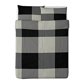 ikea brunkrissla duvet cover and pillowcase blackgray fullqueen double - Duvet Covers Ikea