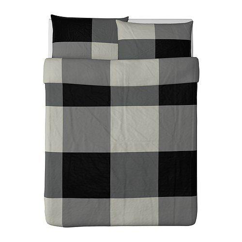 Ikea Brunkrissla Duvet Cover and Pillowcase, Black/Gray, Ful