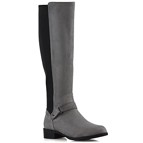 ESSEX GLAM Womens Knee High Boots Elasticated Calf Leg Flat Low Heel Biker Riding Style Grey Faux Suede