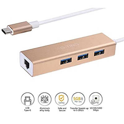 Type C RJ45 Gigabit Ethernet Lan Wires Netword Adapter, USB-C LAN Wired USB 3-Port Network Converter for Apple New Macbook, Chromebook Pixel and More(Rose Gold)