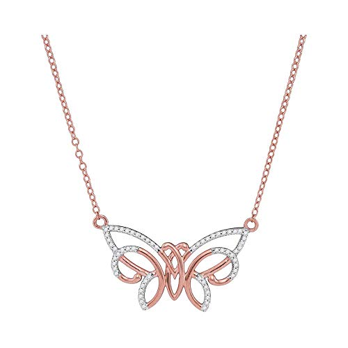 Mia Diamonds 10kt Rose Gold Womens Round Diamond Butterfly Bug Pendant Necklace (.20cttw) (I2-I3)