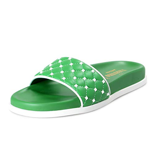 VALENTINO Women's Green Leather Rockstud Flip Flops, used for sale  Delivered anywhere in USA