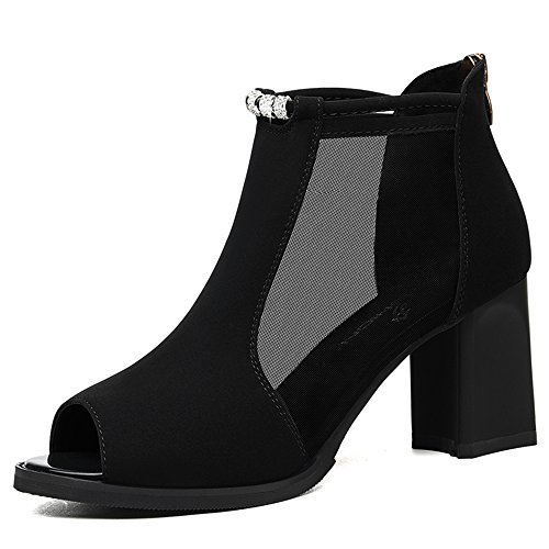 Sandals Feifei Women's Shoes Summer PU Material Fashion Net Yarn High-Heeled (Waterproof Table: 1CM, with High: 7CM) Black